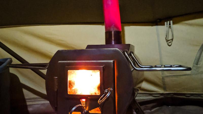 Tent Stove Burning